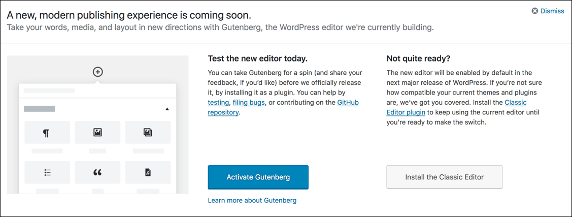 This is a screenshot of the message inviting blog authors to try the new 'Gutenberg' editor.