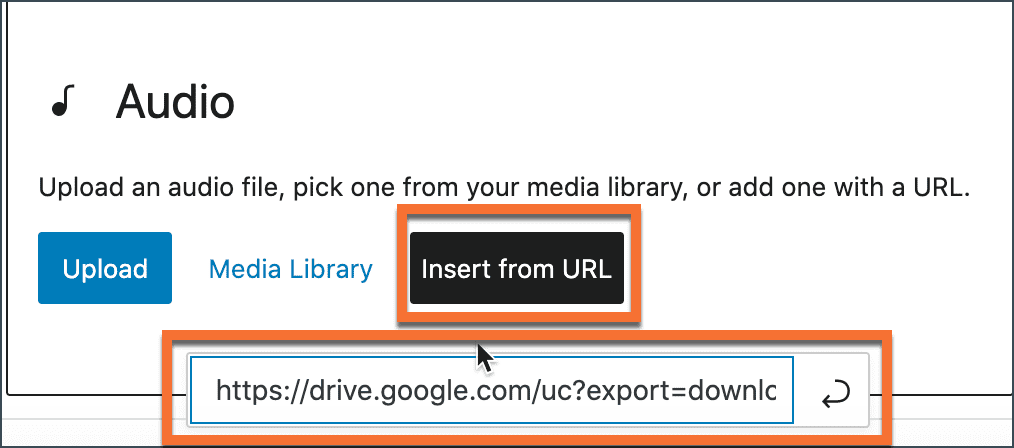 The Audio block - inserting embedded audio using a URL