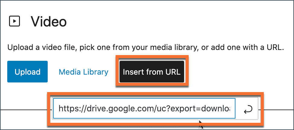The Video block - add the URL to your video and click the arrow.
